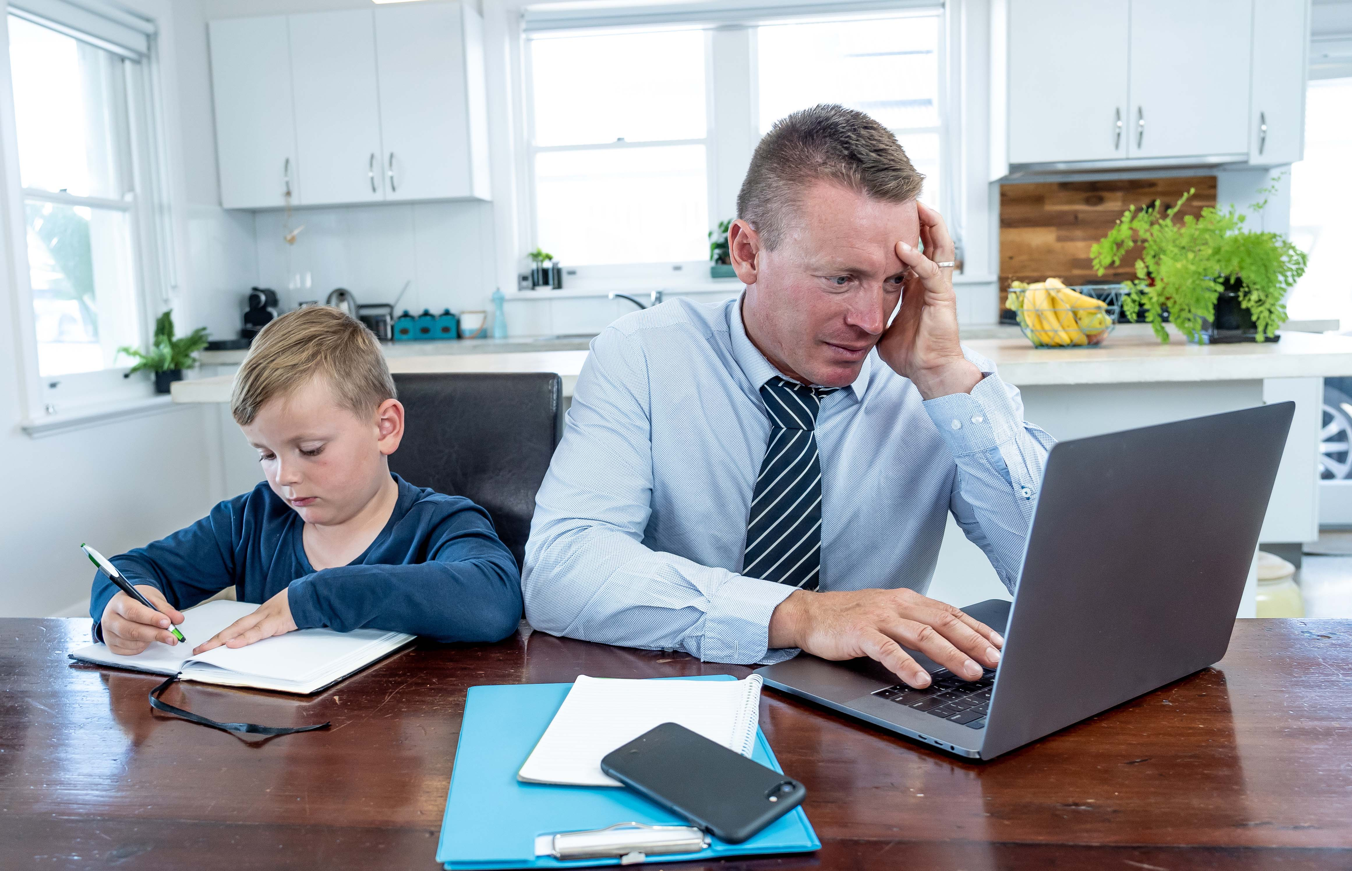working from home with children